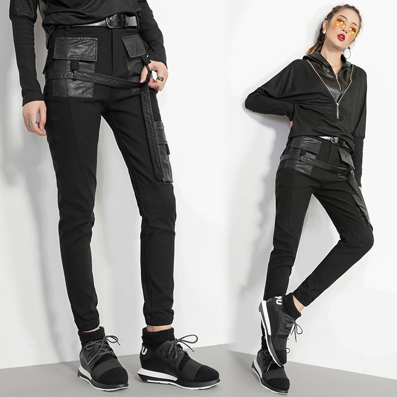 Max LuLu Fashion European Style Ladies Streetwear Womens Vintage Skinny Jeans Patchwork Leather Trousers Black Pants Plus Size