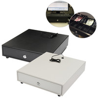 Heavy Cash Drawer Box POS Register RJ 11 Key Lock With 4 Bill 5 Coin Trays White/Black Removable 4 Bills 5 Coins Cash Tray