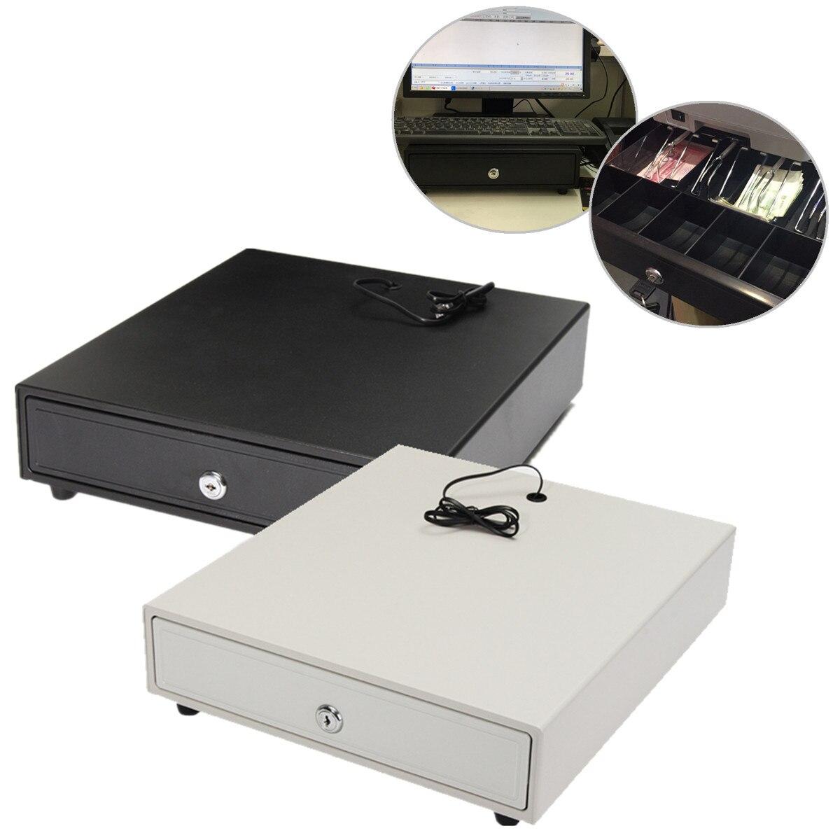 Tiroir-caisse lourd POS Register RJ-11 serrure à clé avec 4 pièces de monnaie 5 plateaux blanc/noir amovible 4 billets 5 pièces de monnaie
