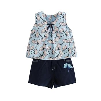 7144f869a1be Chifón estampado de lazo grande 2 piezas juegos de edad para niñas pequeñas  2-8 años ropa de playa de verano sin mangas camiseta + Pantalones cortos ...