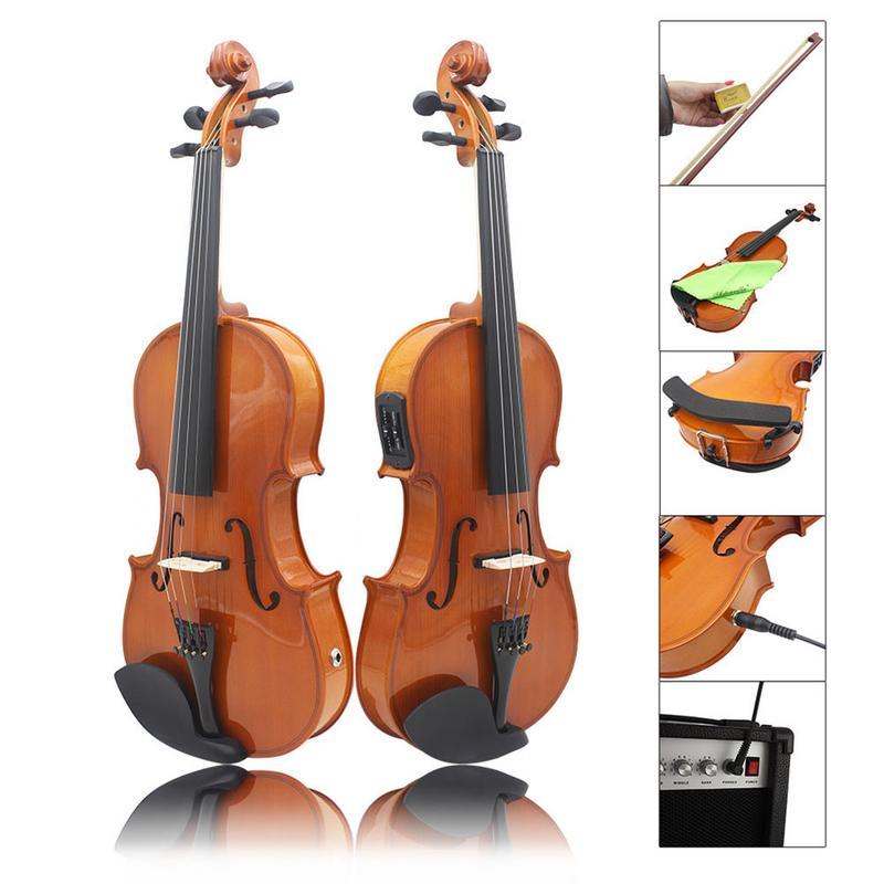 4/4 Standard solid wood Log EQ Electroacoustic Violin Solid Wood Natural Color Handmade Violin