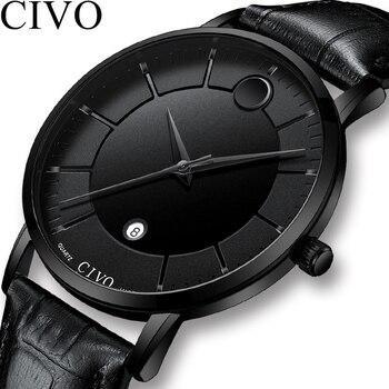 5df9ddae4c34 CIVO 2019 nueva moda relojes para Hombre cuero impermeable Reloj de pulsera  de cuarzo para hombres fecha caballeros casuales Reloj Hombre
