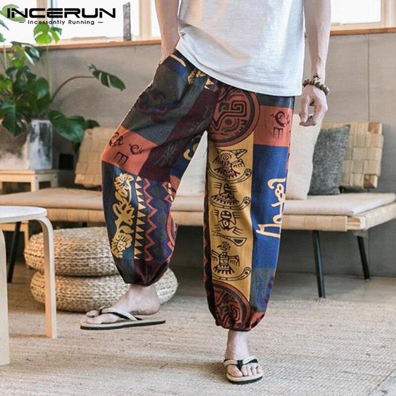 INCERUN Vintage Printed Men Harem Pants Hip-hop Cotton Baggy Loose Thai Wide Leg Pants Ethnic Style Trousers Men Streetwear 2020