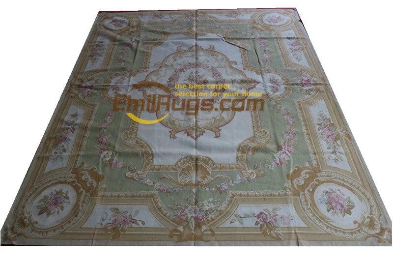 Tapis en laine tissé à la main tapis français aubusson en 244 CM X 305 CM 8'X 10' Beige grand côté beige 11 8x10 (1) gc168aubyg28