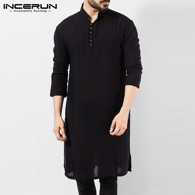 INCERUN Casual Men Shirt Cotton Long Sleeve Stand Collar Vintage Solid Stitched Long Tops Indian Kurta Suit Pakistani Shirt 5XL 2