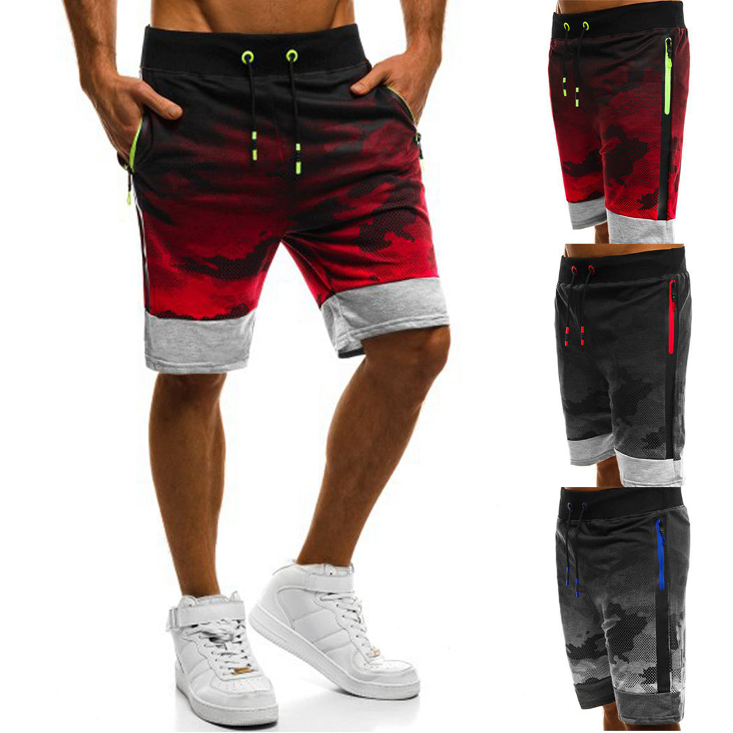 Trousers Short Jogger Drawstring Fitness Camouflage Plus-Size Casual Fashion Zipper Slim