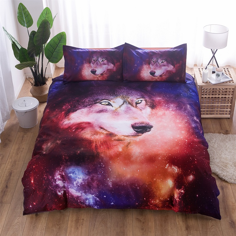 3D Bedding Set Wolf Starry Sky Duvet Cover With Pillowcases Wolf Eye Skull Bed Set 2pcs/3pcs Art Print Bedclothes Queen Size40