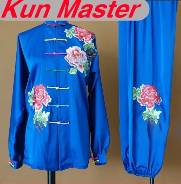 Custom Tai Chi Performance Uniform Peony Embroidery  Martial Art Clothing For Kung Fu According Your Height And Weight 4 ColorsCustom Tai Chi Performance Uniform Peony Embroidery  Martial Art Clothing For Kung Fu According Your Height And Weight 4 Colors