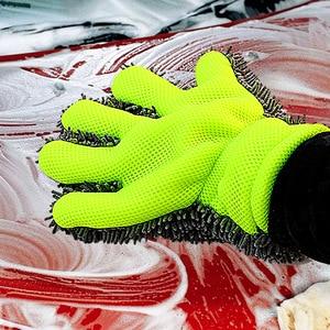 Image 5 - Găng Tay Rửa Xe Len Mịn Viền Ngón Tay Găng Tay Sợi Nhỏ Rửa Xe Găng Tay Vệ Sinh Mitt Giặt Bàn Chải Vải Xe Dụng Cụ Vệ Sinh Làm Sạch