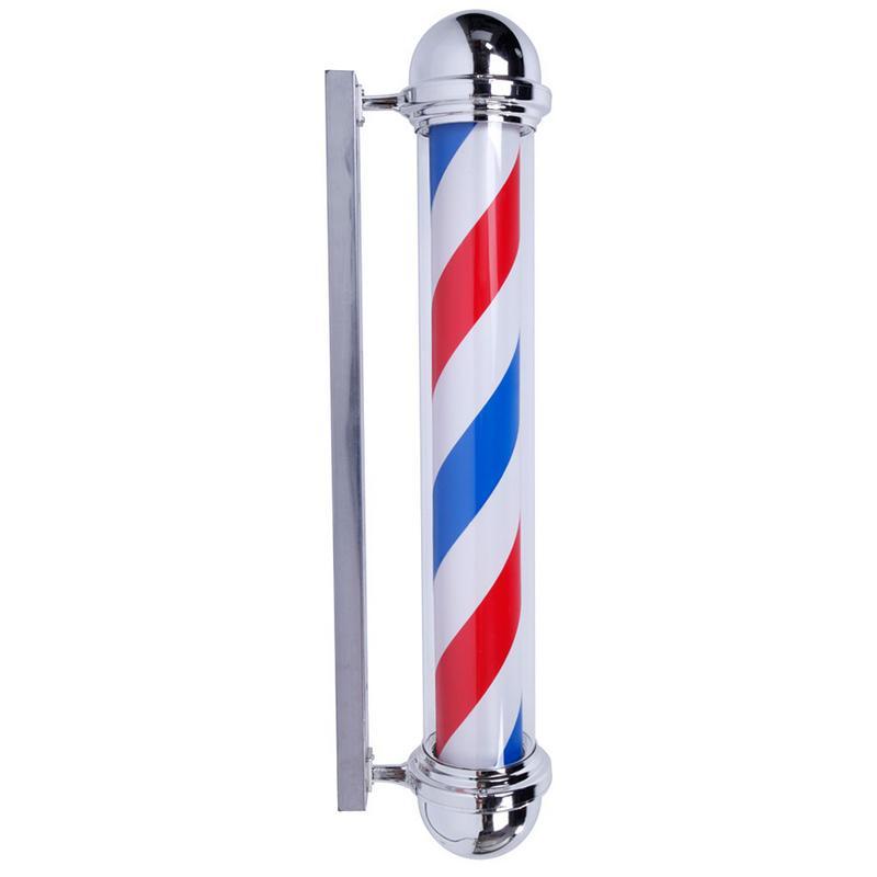 M317C Rotating Barber Pole Light LED Light US Plug Red Blue White LED Barber Shop Sign Stripe Design Roating Salon Wall Hanging