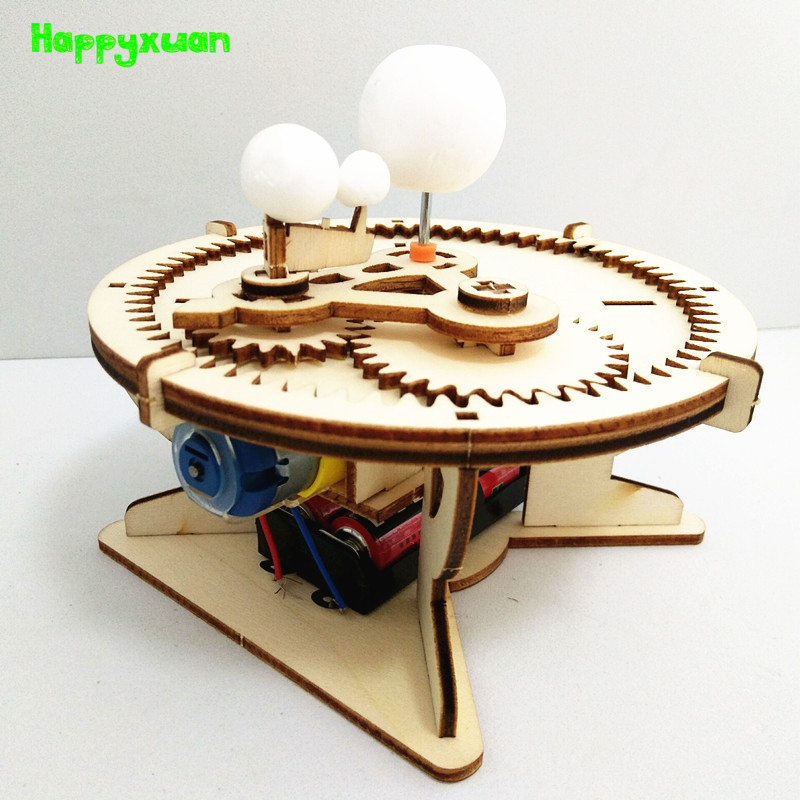Happxuan DIY Science Toys Kids Solar System Model Astronomy Sun Earth Moon Planet School Electric STEM Education Kits Wood