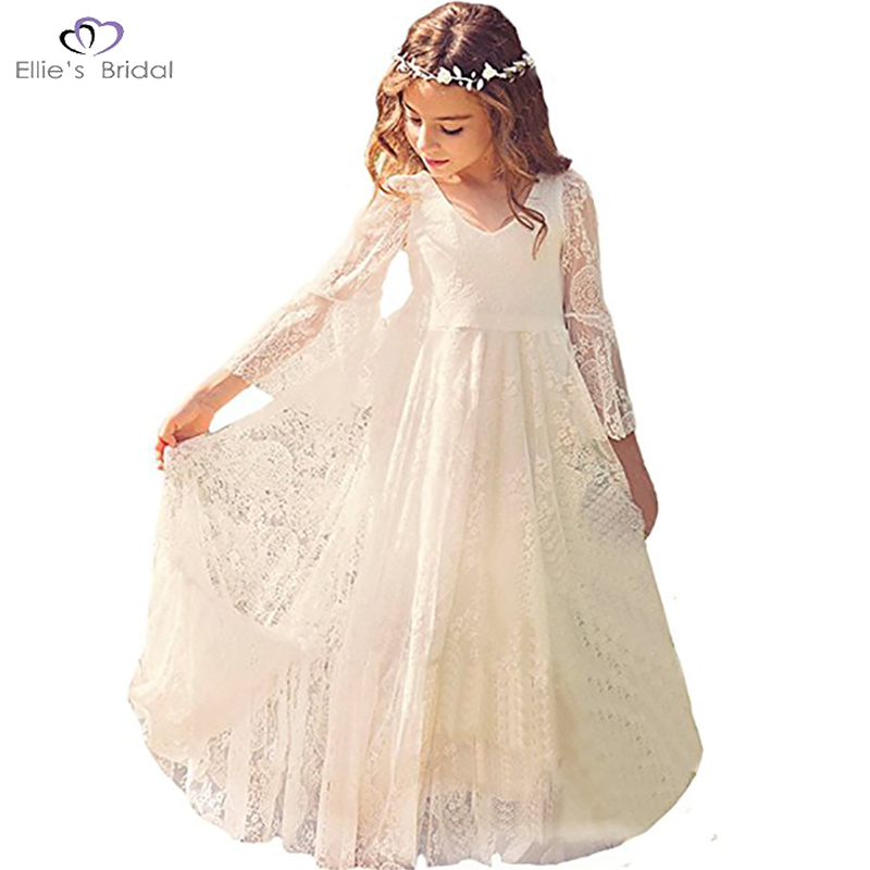 White Lace Dress Girls Flare Full Sleeve Girl Princess Dress Girl Wedding Dress Fancy Party Pageant Formal Dress(China)