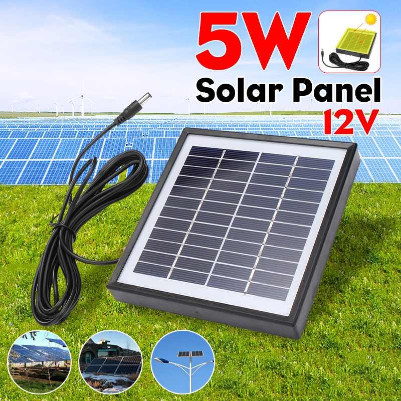 5 w 12 v painel solar ao ar livre cabo de 3 metros carregador solar portátil painel escalada carregador rápido polisilicon tablet gerador solar