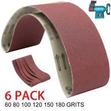 6 stuks van 915*100mm Schuren Riemen Aluminium Oxide 60/80/100/120/150 /180 Grutten Schurende voor Haakse Slijper Machine Schuurmiddelen