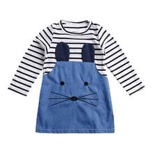 Girls Dresses Long Sleeve Baby Girl Autumn Winter Cartoon Mouse Patchwork Striped Denim Cute Mini Dress Kids Children Clothes(China)