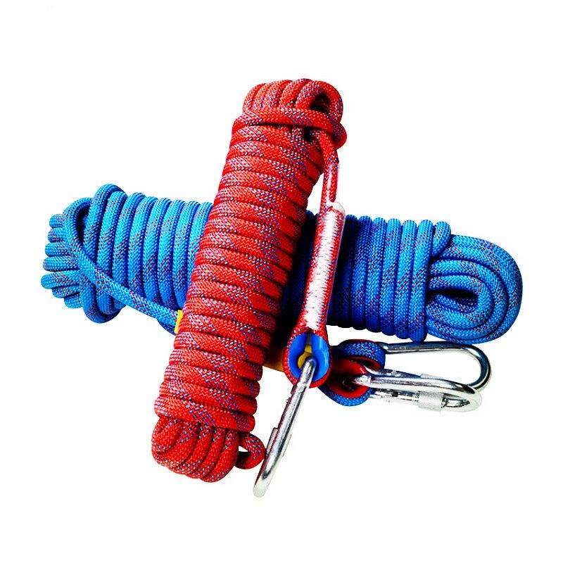 Corde d'escalade professionnelle de 20m x 10mm avec 2 crochets corde de sauvetage extérieure corde de sécurité randonnée rayé boucle survie - 2