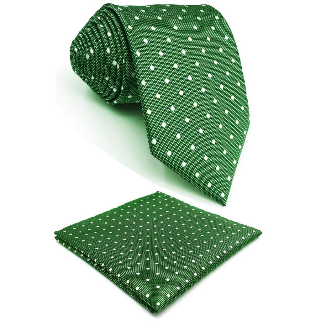 Green Polka Dots Silk Mens Necktie Designer Fashion Brand New Accessory Pocket Square X-long