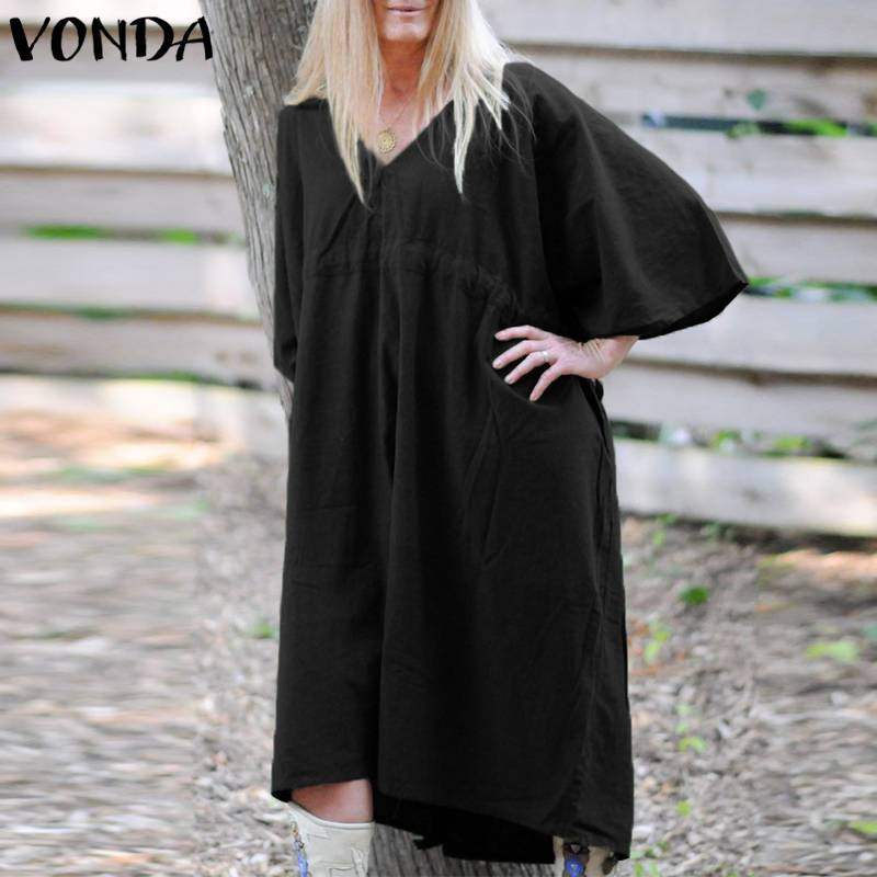 VONDA 2019 Women Cotton Dress Sexy V Neck Batwing Sleeve Drawstring OL Dresses Female Casual Loose Black Vestidos Plus Size