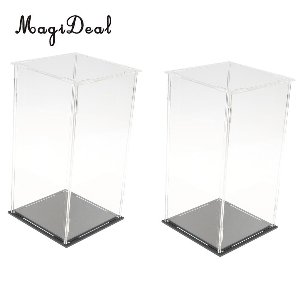 2 PCS Clear Plastic Display Case Box With Base For Music Box Doll Figures Toy Vehicle Model Showcase Home Display 3 steps display case box dustproof showcase gray base acrylic plastic display box case 25 5x15 5x13 8cm 5 colors