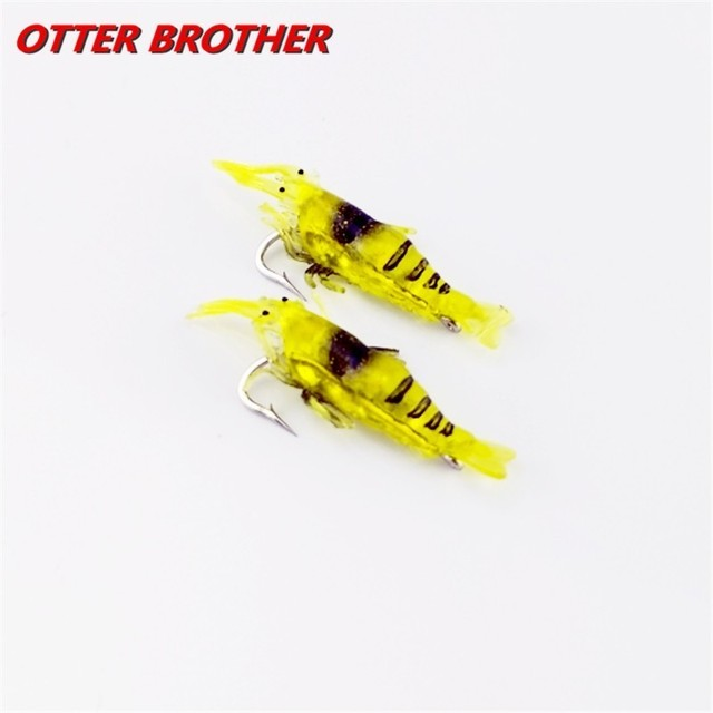 2pcs/lot Fishing Lure Soft Silicone Shrimp With Hook 40mm 0.13g Minnow Trout Fish Tackle Jig Fishing Accessories Artificial Bait