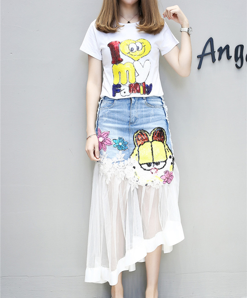 2 Piece Set Women Pearls Sequins Cartoon T Shirts Skirt Suits 3D Flower Embroidery Letter Jean Tulle Skirt Suit Woman Tshirt Set