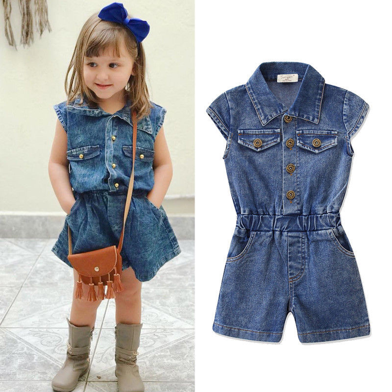 2-7t Toddler Infant Kids Baby Girl Denim Romper Jumpsuit Summer Style Sleeveless Rompers Girl Clothes Outfit