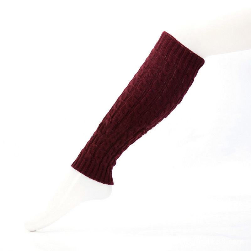 Trendy Women Clothes Casual Lady Winter Warm Leg Warmers Solid Acrylic Cable Knit Knitted Crochet Socks One Pairs