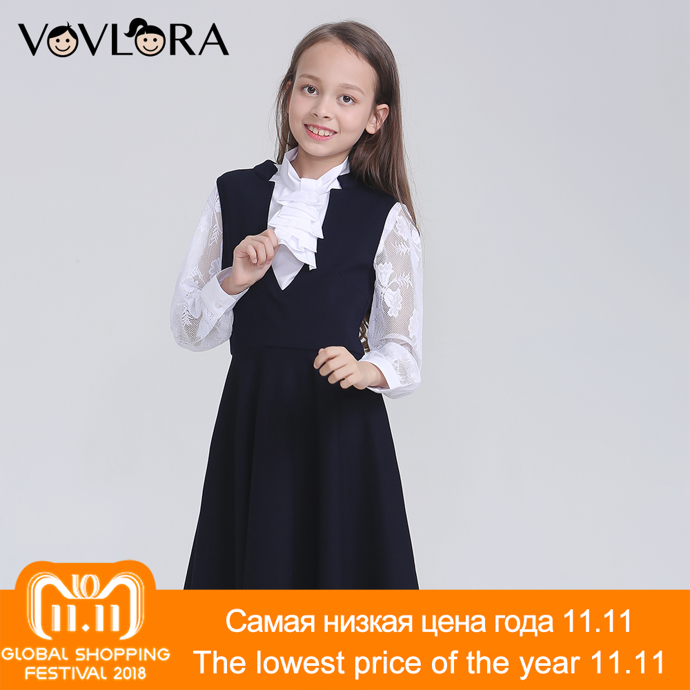 Sleeveless V Neck 2018 Dress School A Line Knitted Solid Kids Dress Girls School Clothes New Arrival Size 9 10 11 12 13 14 Years все цены
