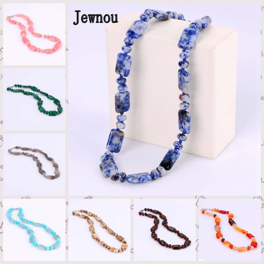 Jewnou Blue-veinstone Necklace Crystal Choker Natural Stone Accessories Women Statement Jewelry Gemstone Bead Chain Reiki Gift