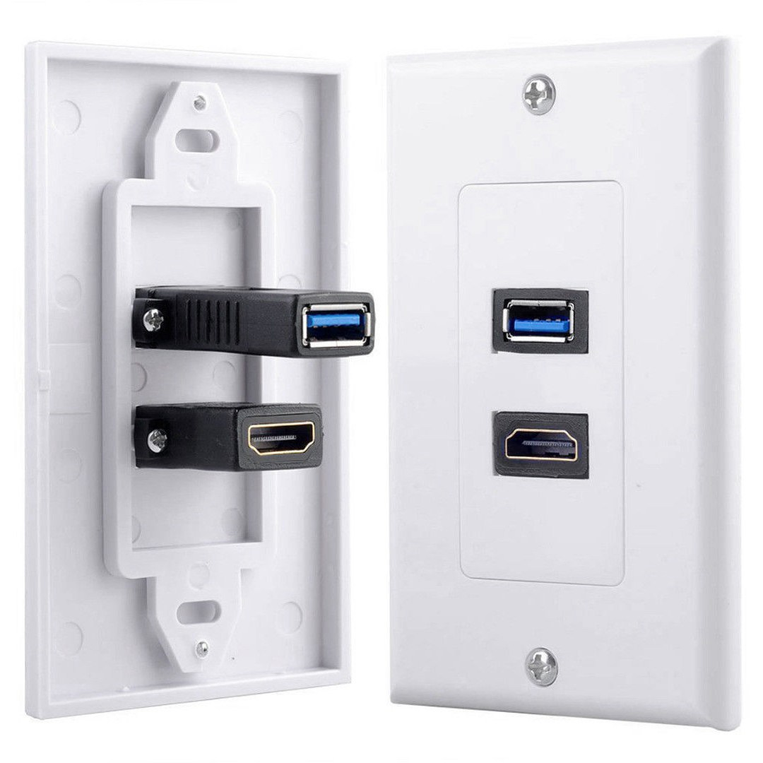 Hot Sale 1x 2Port HDMI+USB 3.0 Female Wall Face Plate Panel Outlet Socket Extender White