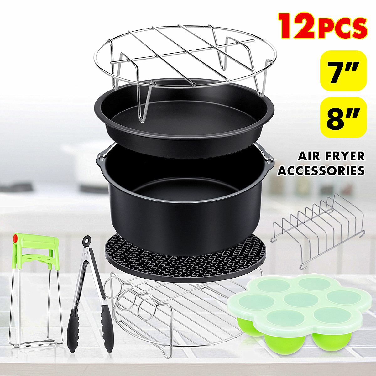 12pcs/set 8 Inches  Air Fryer Accessories Home Kitchen Cooking Tools For Barbecue, Baking, Cooking Fit For  4.2-6.8QT Air Fryer