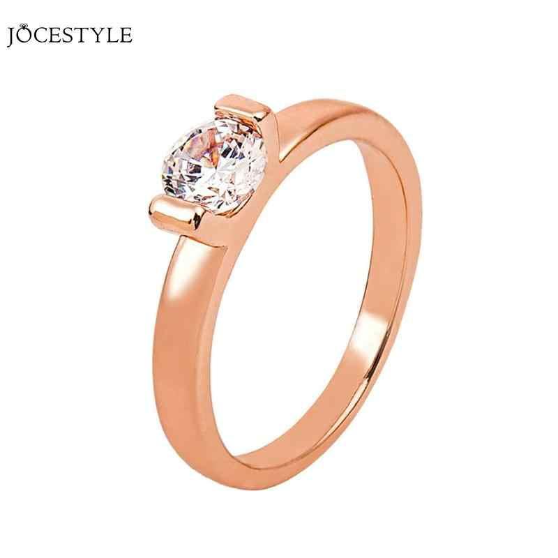 แฟชั่น Elegant Zircon หินชุบ Rose Gold Geometric แหวนผู้หญิงเครื่องประดับงานแต่งงานของขวัญ