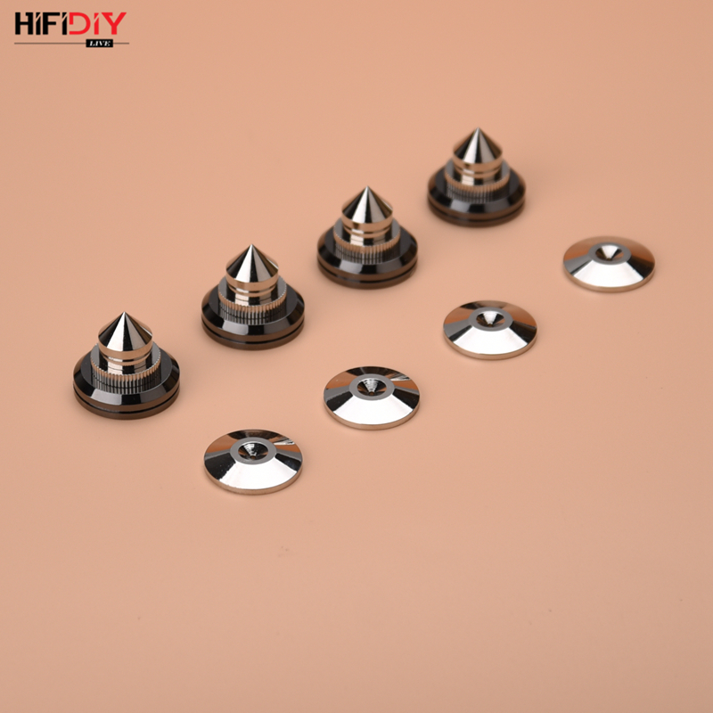 HIFIDIY LIVE 4 Sets PCS Speaker Stand Feet Foot Pad Zinc Alloy Metal Silver (NOT Pure Copper) Spikes Cone Floor Foot Nail M28*26