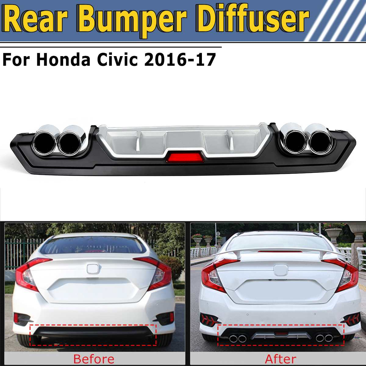 Rear Lower Bumper Diffuser Lip Cover with Dual ABS Special Outlet Pipe Exhaust Decor For Honda For Civic 2016-2017Rear Lower Bumper Diffuser Lip Cover with Dual ABS Special Outlet Pipe Exhaust Decor For Honda For Civic 2016-2017