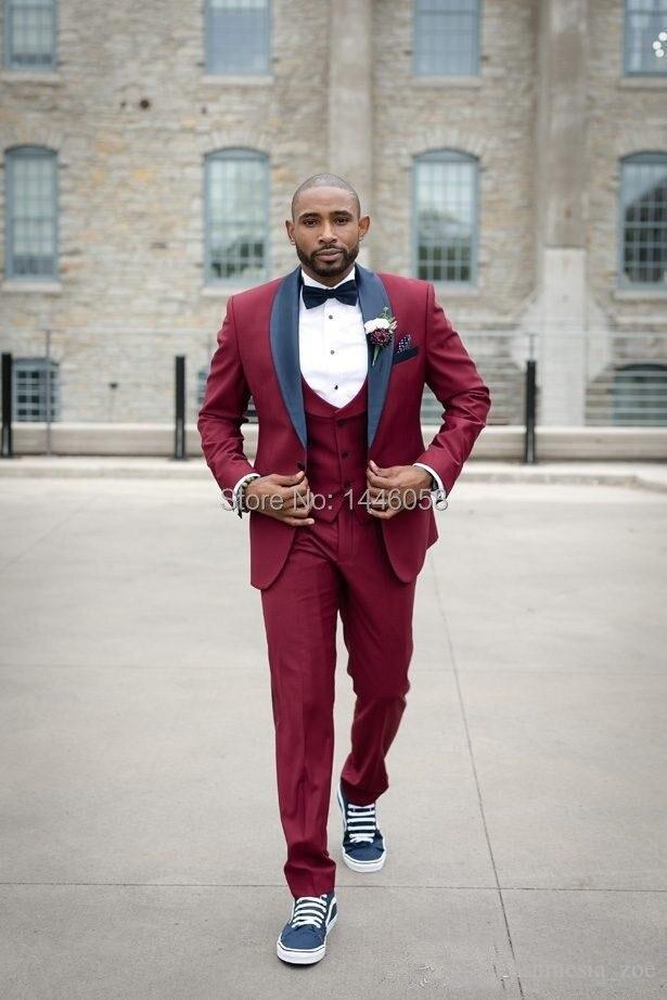 2019 New Arrival Groomsmen 3 Piece Wedding Suits For Men Slim Fit Formal Burgundy Men Suits Wedding Groom Tuxedo Best Man Blazer