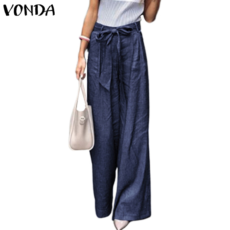 VONDA Women Elegant   Pants   2019 Vintage   Wide     Leg     Pant   High Waist Belt Trousers Bohemian Pantalon Femme Overalls Plus Size S-5XL