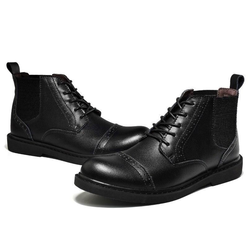 brown Botas Casuais Sapatos Black Chelsea Negócios New Outono Motocicleta Brogue Homens Martin Homem Marca De Genuíno Tornozelo Couro Carving 7atcUc