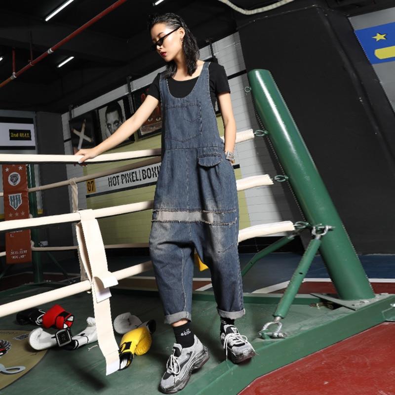Printemps Eté Sans Manches Combinaisons Pour Femmes Ample Jeans Pantalon À Bretelles Femmes Lâche décontracté Denim Bretelle Salopette A9300