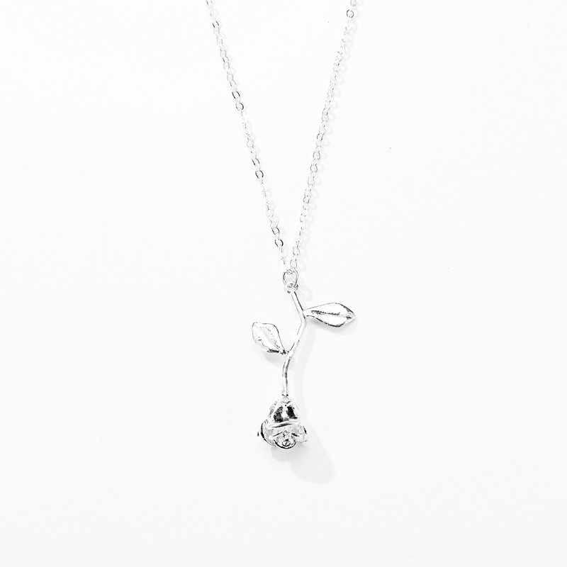 Vintage złoty wisiorek kwiat róży naszyjnik dla kobiet biżuteria Chokers naszyjniki łańcuch sweter kobiety oświadczenie naszyjnik Collier Fem