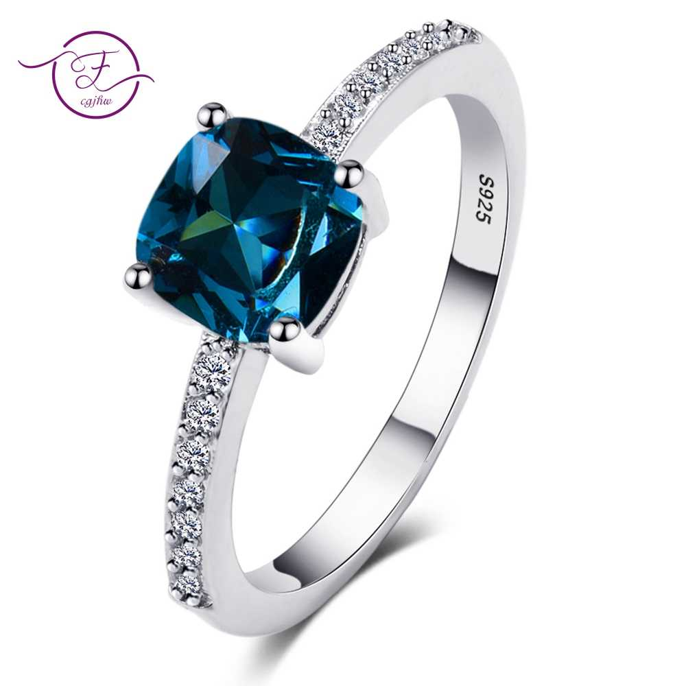 Charms Women's Wedding Rings High Quality Peacock Blue Aquamarine Zircon Ring 925 Sterling Silver Party Engagement Jewelry Gifts