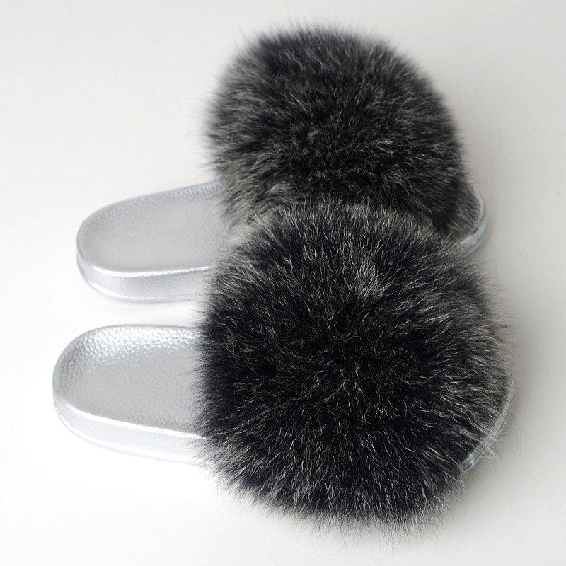 Fur Slippers Women Fox Furry Slides Fluffy Slippers Home Summer Shoes Woman Fur Flip Flops For Ladies Luxury Brand Size 39-41 2