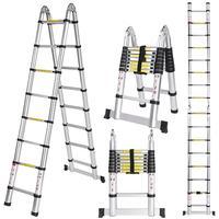 Новый 5 м 2,5 + 2,5 многоцелевой раздвижной, из алюминиевого сплава стиль складной расширение расширяемый лестница