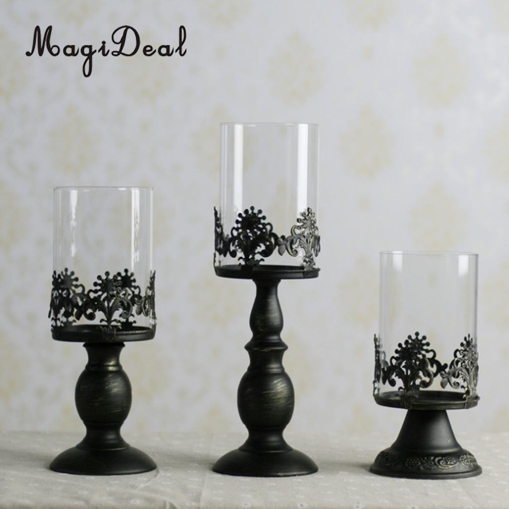 Black Pillar Taper Tea Light Votive Candle Holder ...