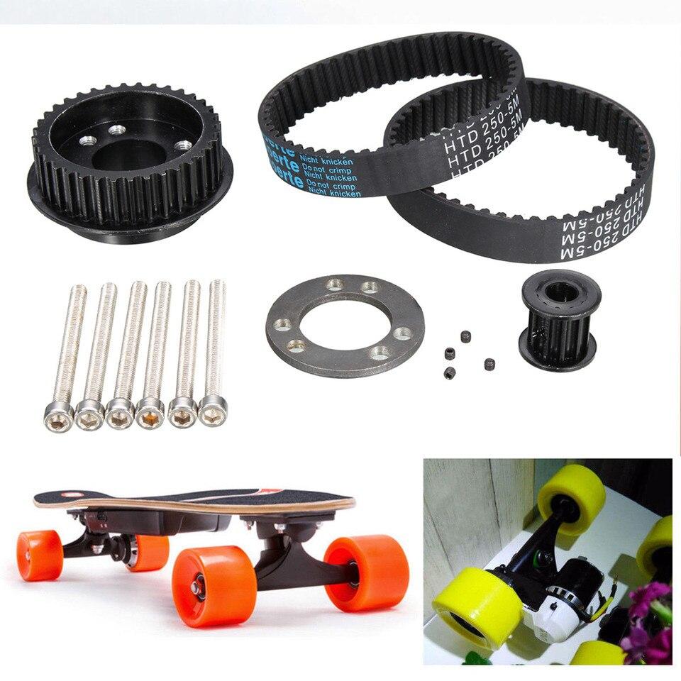 15mm DIY Electric Skateboard Wide Belts ABEC Flywheel Pulley Part Kit 265 255mm