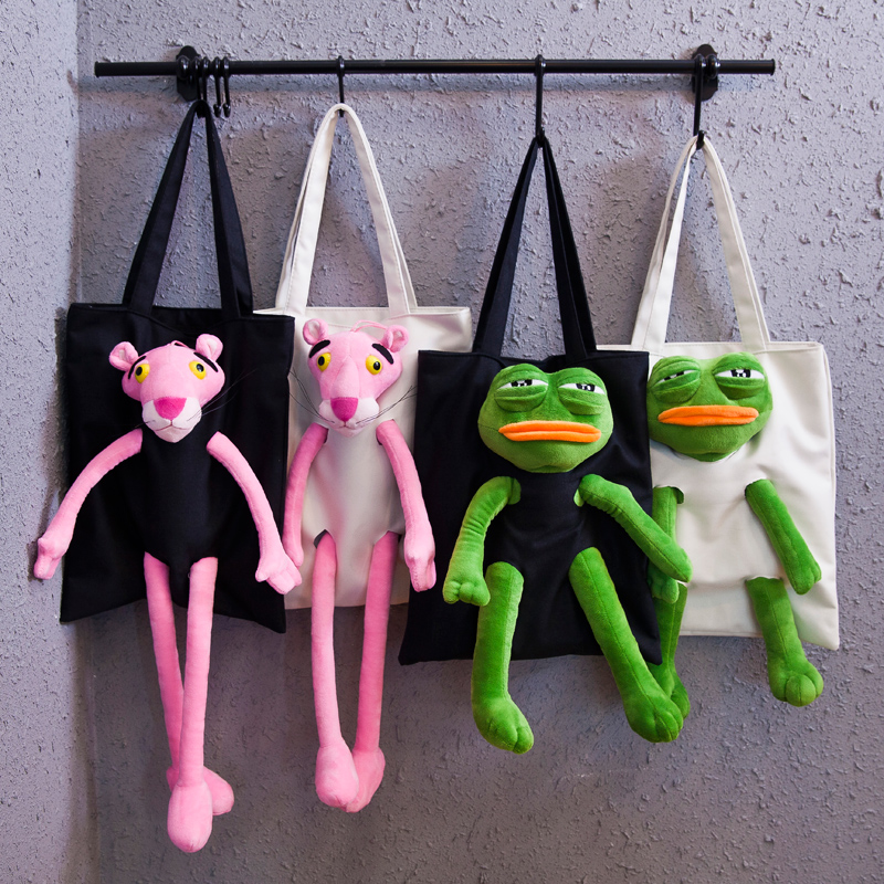 Sad Frog bag anime Pink Panther Sad Frog Feels plush doll cosplay animal cute toy Canvas shoulder bag for girl gift image