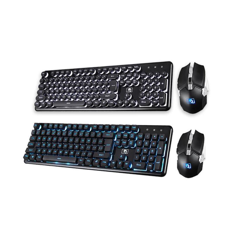 Clavier de jeu souris sans fil 2.4G Rechargeable rétro-éclairé ergonomique illuminé 104 touches clavier mécanique souris jeu lumineux ensemble