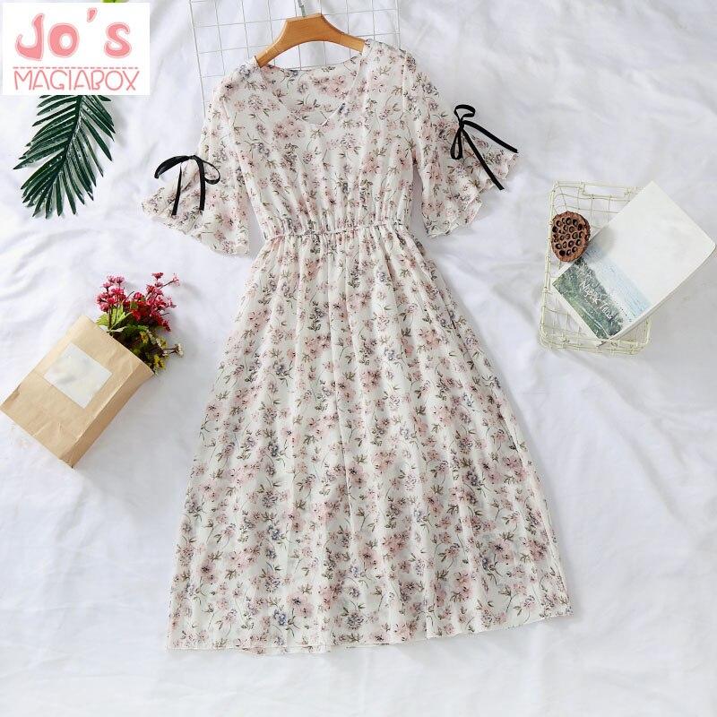 Été mousseline imprimé femmes Kawaii robe mi-mollet Flare manches Empire v-cou bureau Vintage robe de soirée Vestidos vêtements mignons