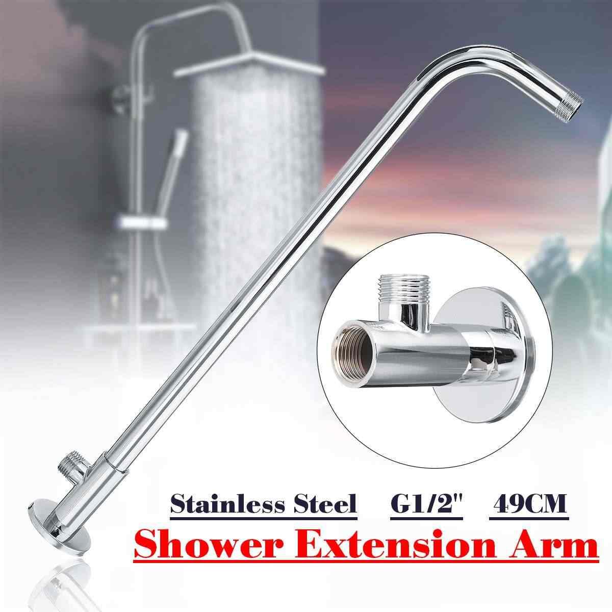 """49cm G1/2 """"ścienny prysznic do montażu wysięgnik kątowy dodatkowy wąż ze stali nierdzewnej do głowicy deszczownica akcesoria łazienkowe"""
