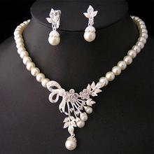 Vintage Simulated Pearl Jewelry Sets For Women Wedding Bridal Crystal Necklace Earrings Gold Color African Set wedding bridal pearl jewelry set women fashion crystal leaf pendant necklace earrings set