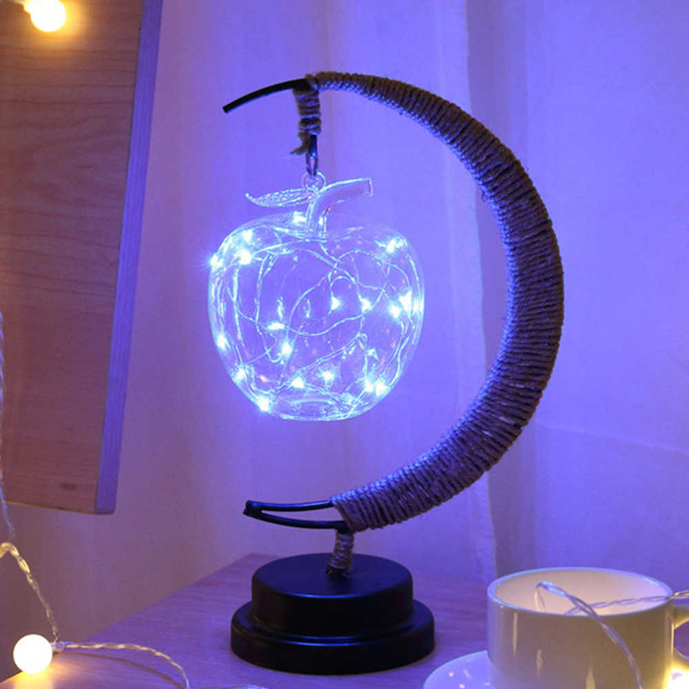 Battery Night Color Decor Atmosphere Lamp Rope Aa Hemp Pendant 4 Led Iron Light Moon Glass Table Home Shapes Gift Dry OkXZiTPu